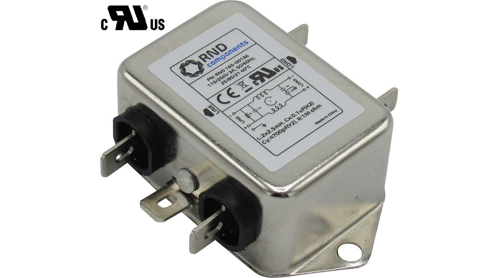 Köp Mains Filter, 3 A, 250 VAC